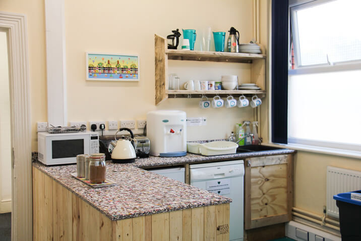 recycled kitchen worktop shown in kitchen at BWC depot